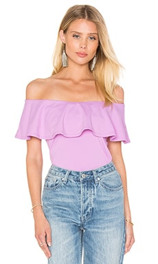 Ruffle Off Shoulder Top in Violet