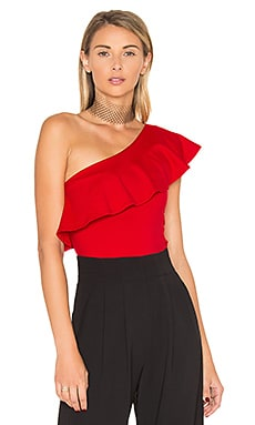 One Shoulder Ruffle Top in Perfect Red