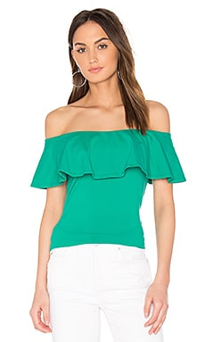 Ruffle Off Shoulder Top in Rainforest