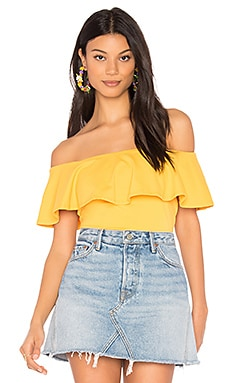Ruffle Off Shoulder Top in Golden