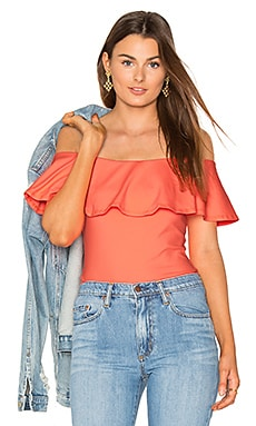Ruffle Off Shoulder Top in Neon Flame
