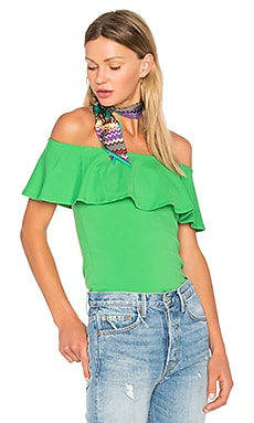 Ruffle Off Shoulder Top in Leek
