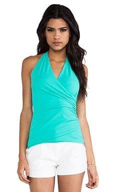 Susana Monaco Wrap Halter Top en Beach Glass