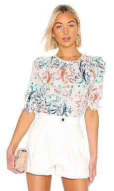 Martha Top In Botanical Floral White Tanya Taylor $295