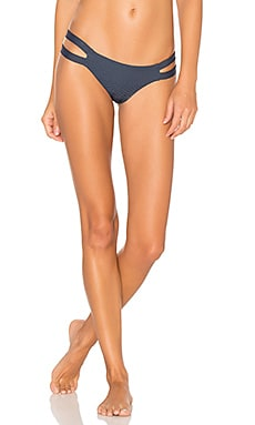 Chloe Minimal Bikini Bottoms in Textured Ombre Blue