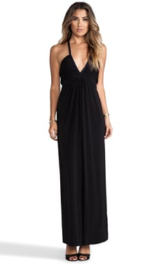 Deep V Maxi Dress in ブラック