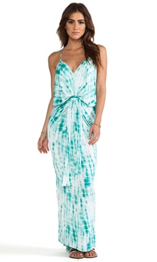 Knot Front Maxi Dress in Turquoise Tie Dye