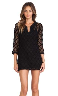 T-Bags LosAngeles Long Sleeve Mini Dress in Black Crochet