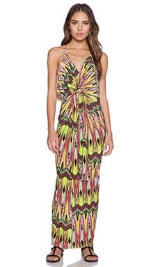 T-Bags LosAngeles Tie Front Maxi Dress in Neon Carnival