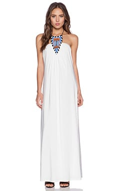 T-Bags LosAngeles Tribal Halter Maxi Dress in White