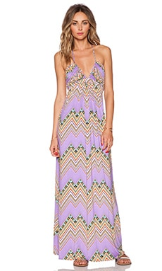 T-Bags LosAngeles Braided Halter Maxi Dress in Lavender Zig Zag