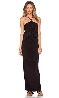 Tie Front Halter Maxi Dress in Black