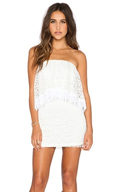 T-Bags LosAngeles Strapless Lace Mini Dress in Pearl