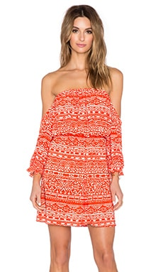 T-Bags LosAngeles Off the Shoulder Mini Dress in Red Moroccan