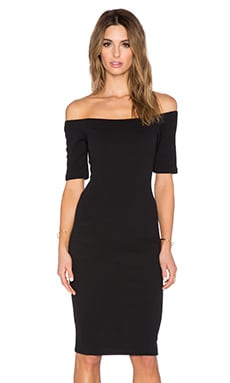 Off The Shoulder Bodycon Dress in Ink Black