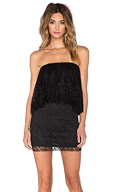 Crochet Lace Ruffle Tube Dress en Noir