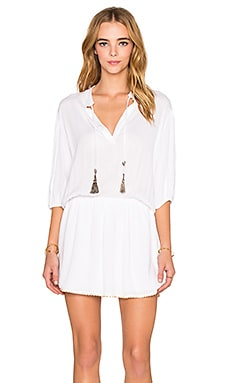 T-Bags LosAngeles V Neck Mini Dress in Sea Salt