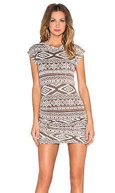Ruched Mini Dress in Aztec Taupe