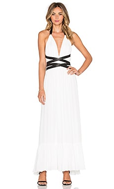 V Neck Open Back Maxi Dress in Sea Salt
