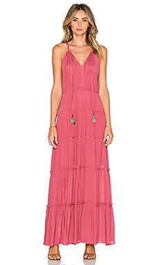 T-Bags LosAngeles V Neck Tassel Maxi Dress in Mauve