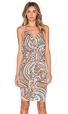 T-Bags LosAngeles Twist Front Midi Dress in Neon Carnivale