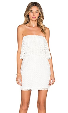 T-Bags LosAngeles Strapless Ruffle Mini Dress in Ivory