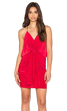 Domino Tie Front Micro Mini Dress in Ruby Red