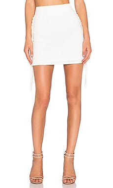 T-Bags LosAngeles Fringe Mini Skirt in Ivory