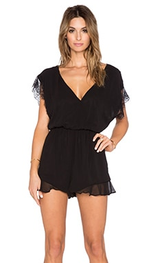 T-Bags LosAngeles V Neck Lace Romper in Misty Black