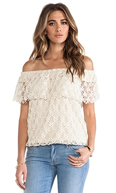 Off The Shoulder Lace Top in Natural