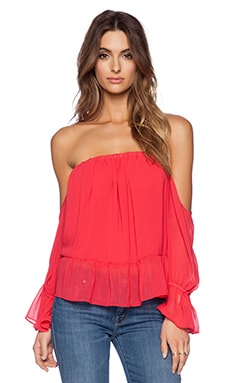 T-Bags LosAngeles Long Sleeve Off the Shoulder Top in Poppy