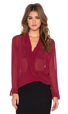 T-Bags LosAngeles Cross Front Blouse in Wine