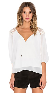 3/4 Sleeve Embroidered Top in Off White