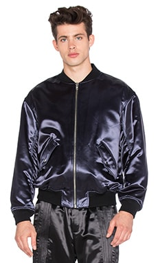 T by Alexander Wang Padded Tuxedo Bomber Jacket in Petrol