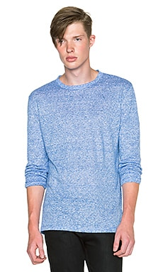 T by Alexander Wang Stripe Linen Long Sleeve Tee in Vein