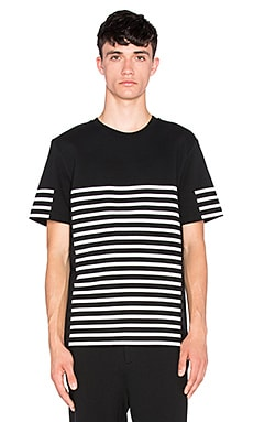 T by Alexander Wang Striped Gel Print Short Sleeve Tee in Matrix