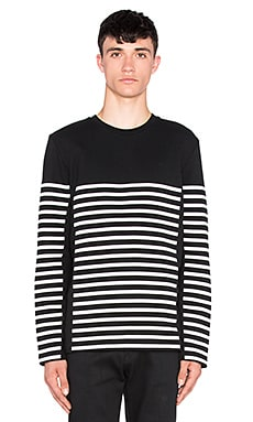 T by Alexander Wang Striped Gel Print Long Sleeve Tee in Matrix