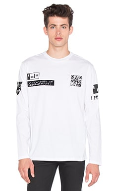 T by Alexander Wang Etching Scanner L/S Tee in White & Black