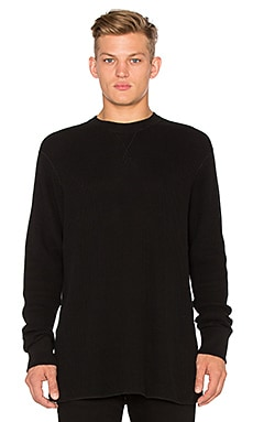 T by Alexander Wang Waffle L/S Tee in Black