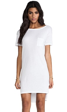 Classic Boatneck Dress With Pocket in White