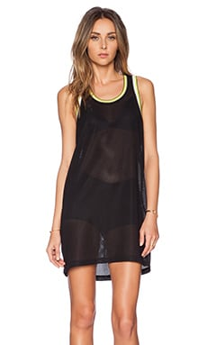 T by Alexander Wang Waffle Mesh with Stripe Rib Trim Tank Dress in Black