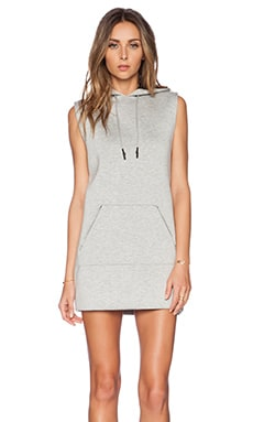 T by Alexander Wang Scuba Hooded Dress with Reflective Stripes in Light Heather Grey
