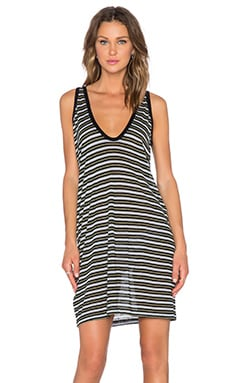 T by Alexander Wang Stripe Tank Dress in Black Multi