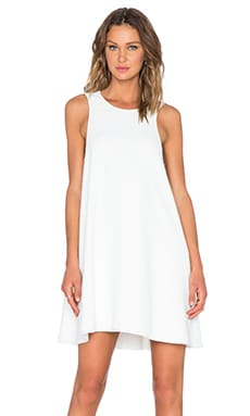 T by Alexander Wang Raw Edge Leather Trim Dress in White