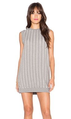 T by Alexander Wang Burnout French Terry Dress in Heather Grey
