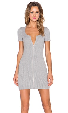 T by Alexander Wang 2X2 Rib Zip Dress in Heather Grey
