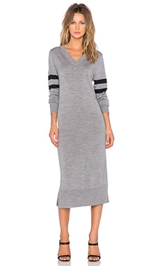 T by Alexander Wang V Neck Long Sleeve Knit Dress in Heather Grey
