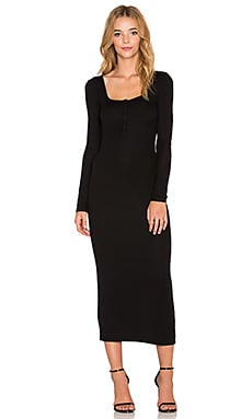 T by Alexander Wang Rib Henley Fitted Dress in Black