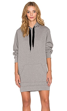 T by Alexander Wang Hooded Sweatshirt Dress in Heather Grey