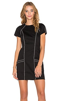 T by Alexander Wang Tech Suiting Short Sleeve Dress in Black